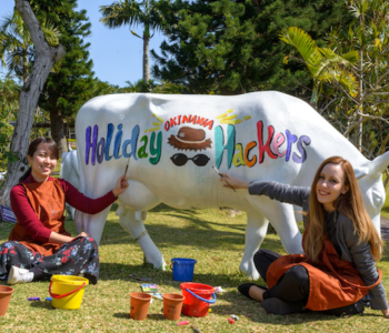 Family Vocation in Okinawa Must-Have! Super Funny Activity- COW ART