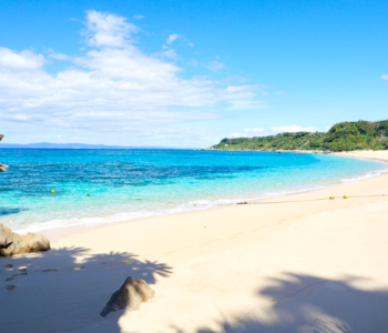 從沖繩本島開車可以抵達的離島「大泊海灘」享受尚未受到開發,體驗大自然氣氛的天然海灘。