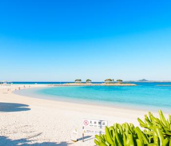 由环境省评选为「快水浴场百选」的海滩就在这里! 翡翠海滩♪