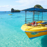 Natural beach with preeminent transparent water on remote Ikei Island that can be reached by car from Okinawa Island!