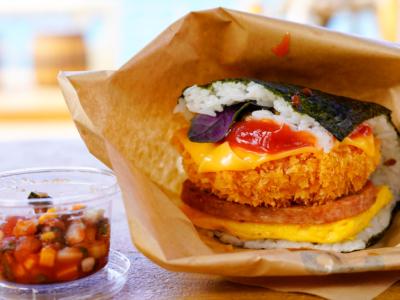 ♯오키나와 소울푸드「포크 타마고 ♯오니기리」흰밥+스팸+계란부침의 샌드위치식 사각 주먹밥!